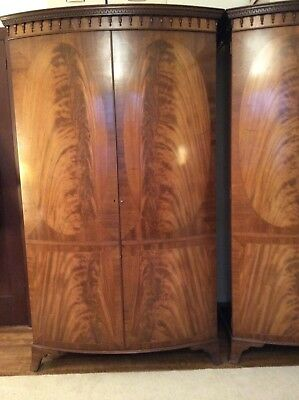 1930's Bow Fronted Walnut Veneered Wardrobes x 2