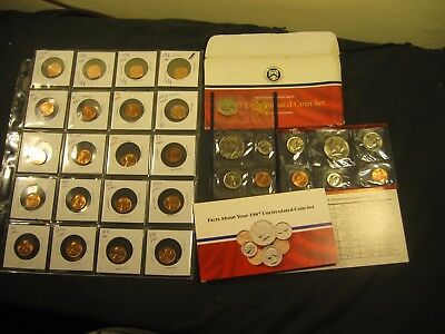 20 Different Uncirculated Pennies With 1987 P + D Mint Set