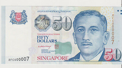 Singapore ND 50 Dollars serial number 000007 P-49 perfect GEM UNC nice!