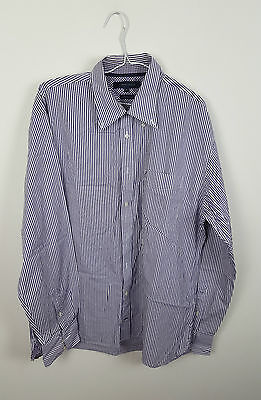 Mens Purple Tommy Hilfiger Vtg Retro Athletic Long Sleeve Check Striped Vgc Uk L