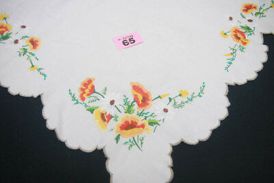 """BEAUTIFUL VINTAGE HAND EMBROIDERED YELLOW & ORANGE FLORAL TABLECLOTH   32"""" x 32"""""""