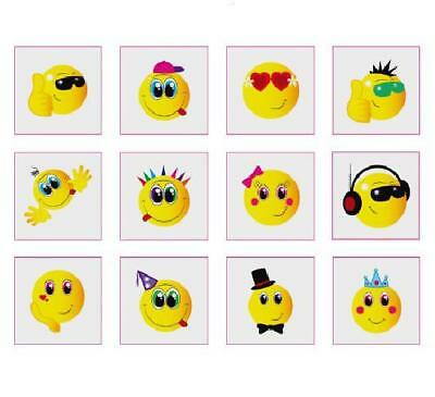 24 Childrens Smiley Temporary Tattoos Kids Loot Party Bag Fillers Boys Girls