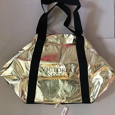 Victoria's Secret Packable Gold Travel Tote Bag NWT