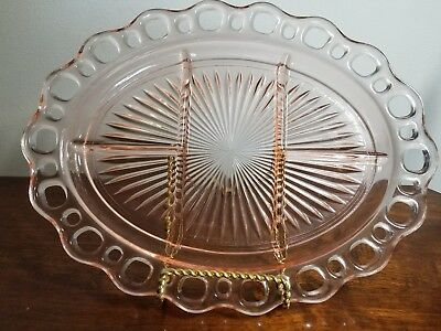 1930's Pink Anchor Hocking Lace Edge Old Colony  5 Part Oval Platter