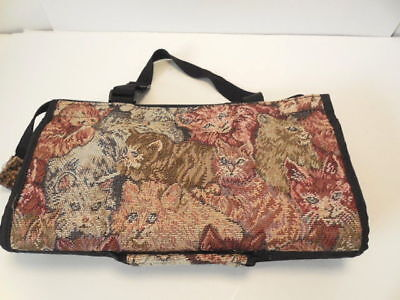 Cat Vtg Tapestry Collapsible Shopping Bag w Wheels -- Neat!