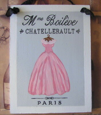 Hand Painted Shabby Cottage Chic Paris Sign French Country Pink Gown Romantic