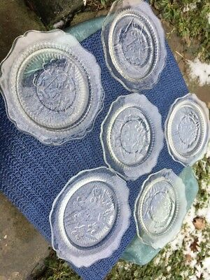 6 Jeannette Glass Iris and Herringbone Crystal Saucers Depression Glass