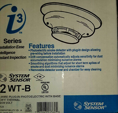 System Sensor I3 Series 2Wt-B 2-Wire Plug-In Photoelectric With Base