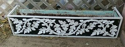 Vintage Ornamental Wrought Iron Flower Box~Antique Architectural Salvage 43 X 9""