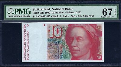 Switzerland 1990 P-53h PMG Superb Gem UNC 67 EPQ 10 Franken