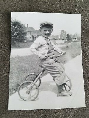 Vintage Pre-War 1920s Original Photo of Boy with Tricycle Bike RARE PHOTOGRAPH