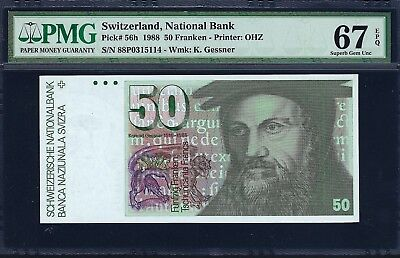 Switzerland 1988 P-56h PMG Superb Gem UNC 67 EPQ 50 Franken