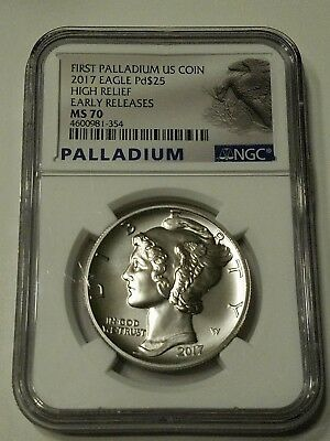2017 First Palladium Eagle High Relief Early Release Ngc Ms70