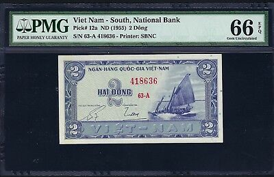 South Vietnam ND (1955) P-12a PMG Gem UNC 66 EPQ 2 Dong