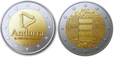 Andorre 2017 * 2 Coincard  * Le Pays Des Pyrenees + 100 Ans Hymne National