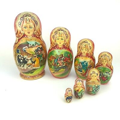 Russian Nesting Doll Matryoshka Fairy Tale Artist Signed Hand Painted 7 Pieces