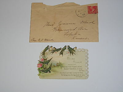 1899 Antique VALENTINE CARD H. M. Burnside Old Vintage Paper Valentines poem