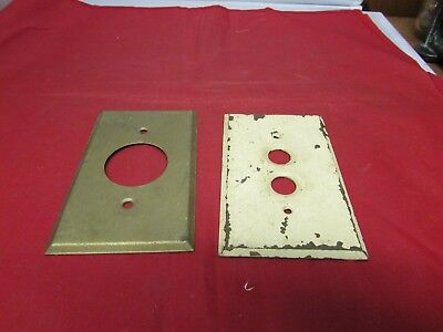 Vintage Farm House Salvage Brass Push Button Light Cover And Metal Cover
