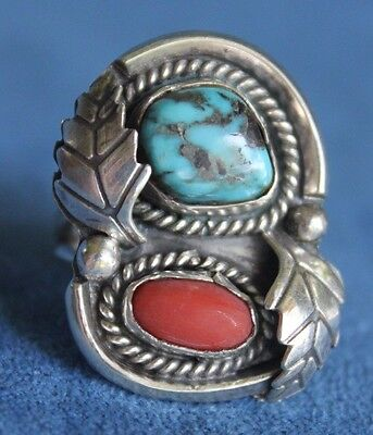 Old Vintage Navajo Feather Sterling Silver Turquoise Coral Pawn RING Size 6 3/4