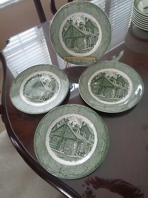 Vintage Lot Of 4 The Old Curiosity Shop Royal Green 10 In Dinner Plates