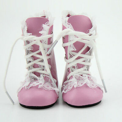 Leather Pink Lace Up Martin Boots Shoes for 18inch American Girl Dolls Party