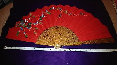 """Vintage Gilded 32"""" Hand Fan, Vary Nice"""