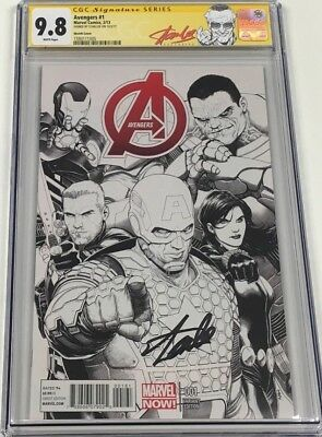 Marvel Avengers #1 McNiven 1:150 B/W Sketch Variant Signed Stan Lee CGC 9.8 SS