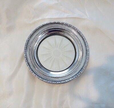 Vintage Frank Whiting Co- Talisman Rose Crystal Wine Coaster w Sterling Rim