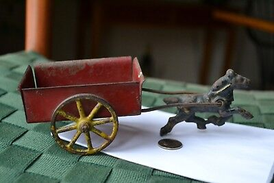 Vintage Cast Iron Horse and Steel Cart