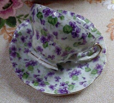Vintage Lefton Hand Painted Chintz Bone China Made In England Cup & Saucer