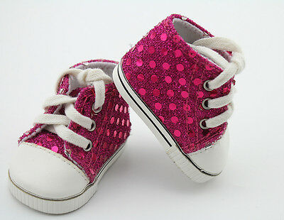 """Rose Pink Sequin Sneakers Shoes Rebron Dolls Accessories For 18"""" American Girl"""