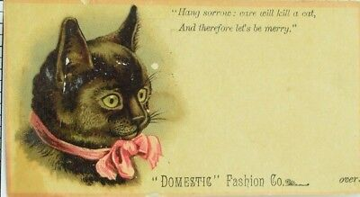 Domestic Sewing Machine Co Adorable Black Cat Pink Ribbon Poem P77