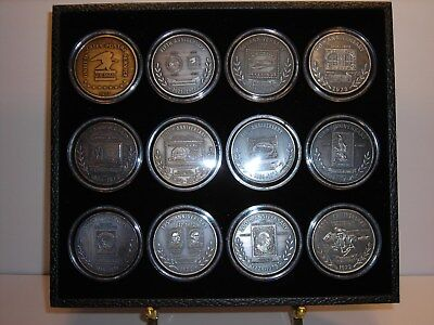 Vintage Silver Postal History Medals Post Office Mail Box Door USPS Display Case