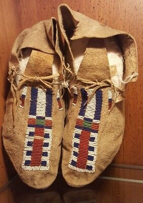 Native American Beaded Moccasins circa 1880 -1890