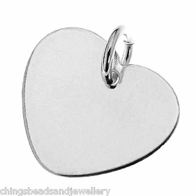 Sterling Silver 11mm Heart Charm For Engraving PK1 PK5