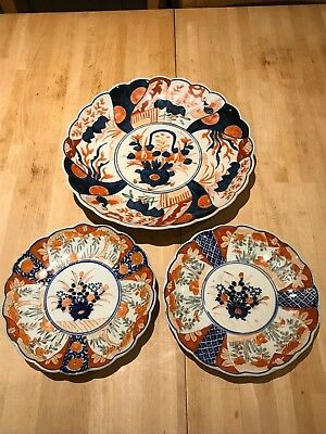 Antique Japanese Imari Charger And Plates Meiji Period Good Condition