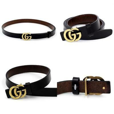 Wide Casual Belt For Womens Pants Genuine Leather Thin Vintage GG Buckle 0.9″