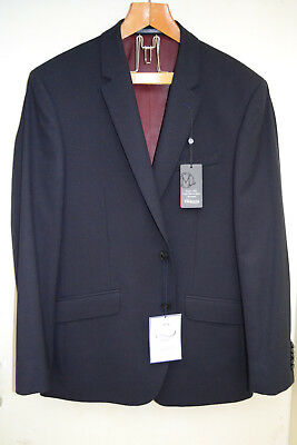 TM LEWIN Navy Mens Suit Jacket Blazer - Pure Merino Wool, New with Tags!