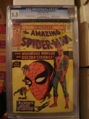 Amazing Spider-Man Annual #2 CGC 5.5 OWWP Classic Ditko Cover Dr Stange X-Over