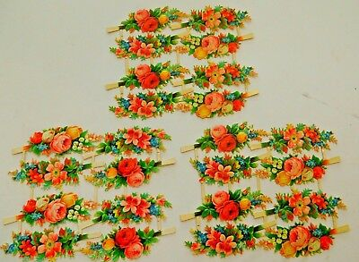 3 Sheets ~ Antique Die Cut Scrap Roses and Flowers