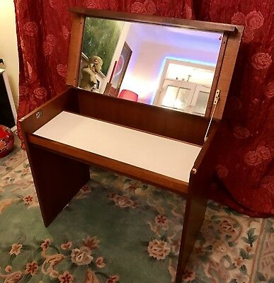 Vintage Mid Century Stag Desk Dressing Table with Integral Folding Mirror MCM