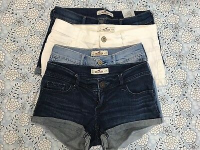 Lot Of 4 Pairs Of Hollister Jean Shorts Juniors Size 1 W25