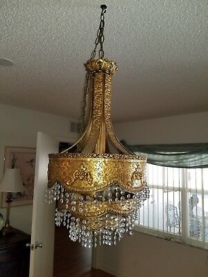 Vintage Moroccan light fixture / Chandelier Brass with prisms