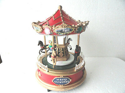 """Merry Go Round Carousel Animated Lights Music Holiday Battery  8"""" Christmas"""