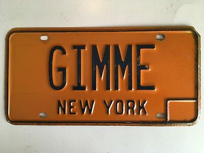 Vanity License Plate GIMME Greed New York gift for entitled rich greedy person