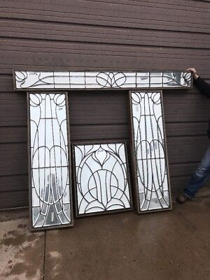 Art Nouveau B Antique all beveled glass 4 Piece entry set stained  Glass