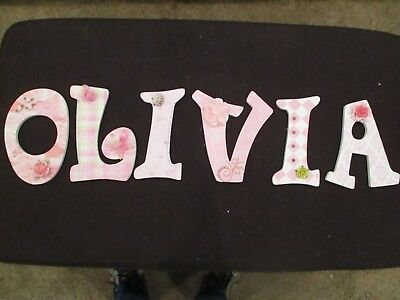 """Olivia"" 9: wood Handmade decorated letter $7 per letter or $35.00 FOR all"