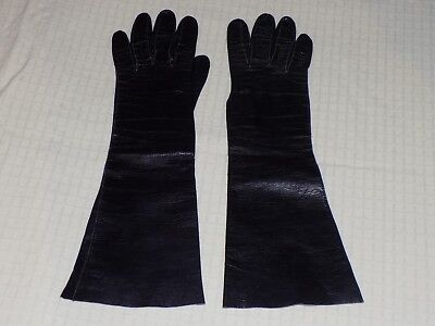 Vtg Aris of Paris France for Lord & Taylor Real Kid Leather Black Opera Gloves