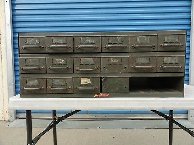 Vintage Industrial Equipto Co. Green Metal 18 Drawer Storage Parts Cabinet