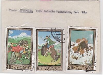 (V8-24) 1972 Mongolia old stamp pack 3stamps animal paintings (Y)